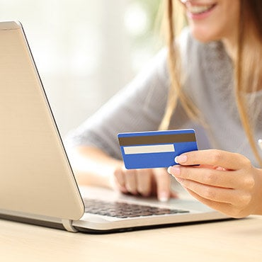 Woman making an online purchase