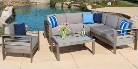 Christopher Knight Home Cape Coral Outdoor Aluminum 5-piece Sofa Set with Cushions
