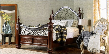 Furniture of America Barath Antique Dark Oak Wood and Metal Poster Bed