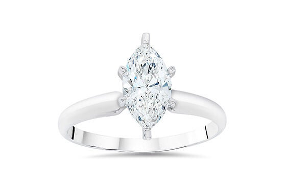 14k White Gold 1ct TDW Clarity Enhanced Marquise-cut Diamond Solitaire Engagement Ring