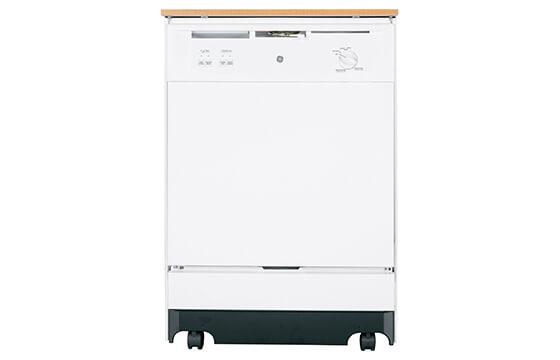 GE 24-inch protable white dishwasher