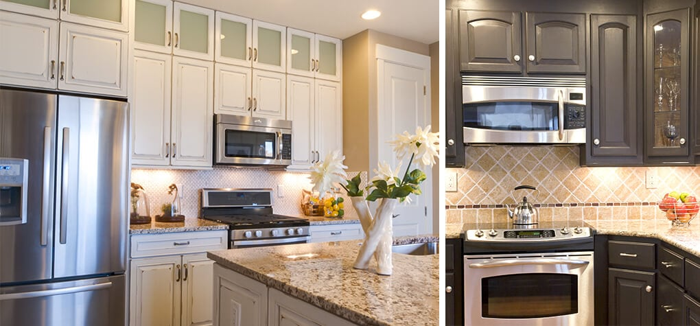 Two different kitchens featuring stainless steel above the range stainless steel microwaves