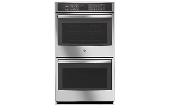 GE double electric wall oven in stainless steel