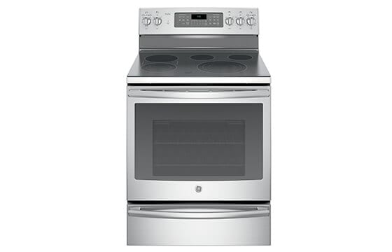 GE  electric convection range with warming drawer in stainless steel