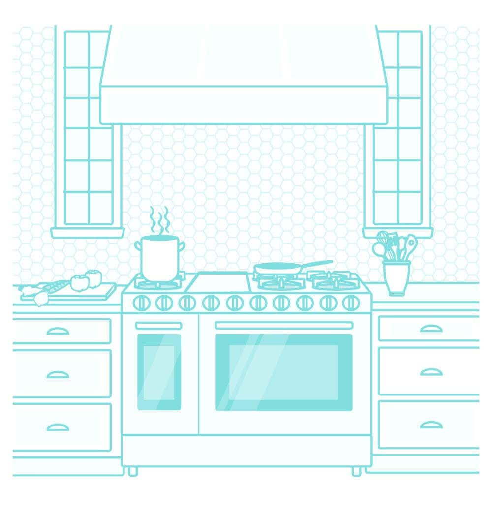 Illustration of a kitchen range with cabinets surrounding the range