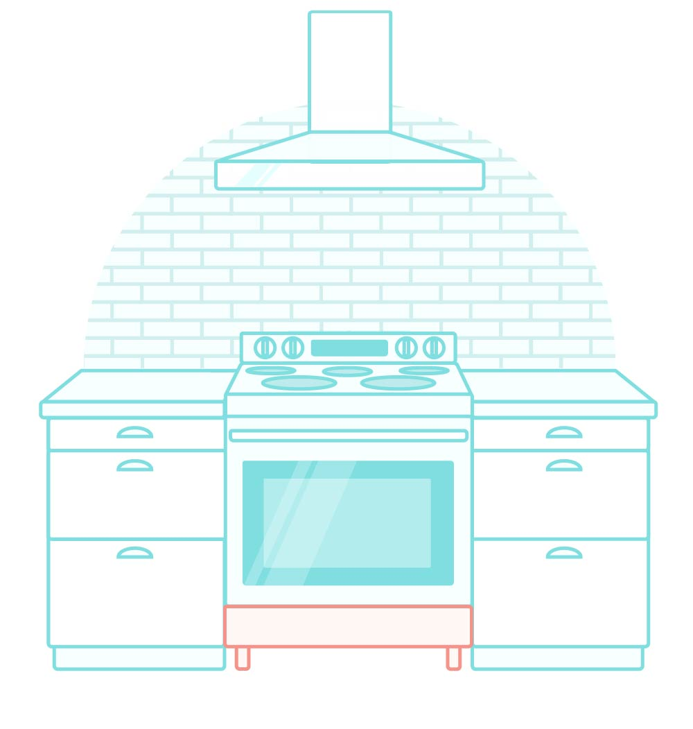 Illustration of freestanding kitchen range
