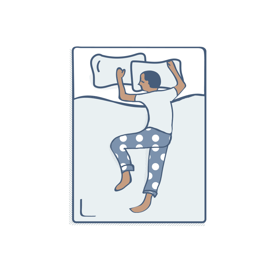 Illustration of man sleeping with his dog on bed