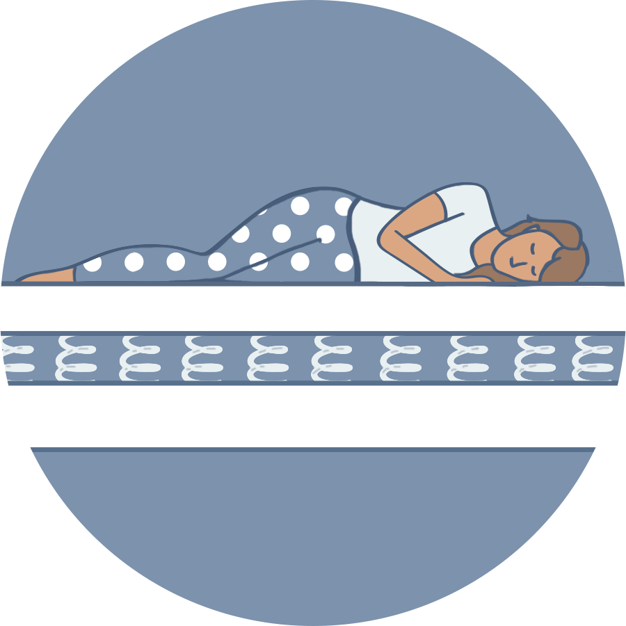 Illustration of a person sleeping on an open coil mattress