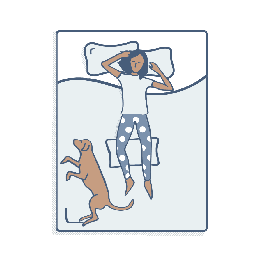 Illustration of a person sleeping on their back with pillow under their