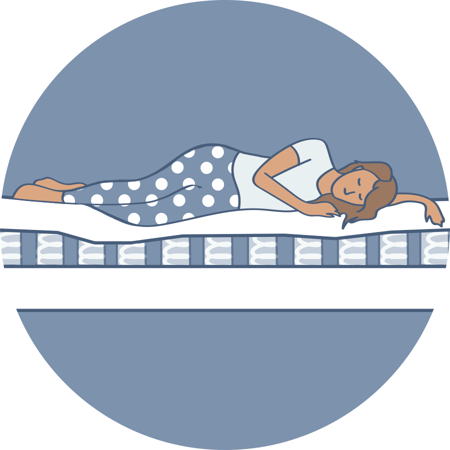 Illustration of a person sleeping on a pocket coil mattress