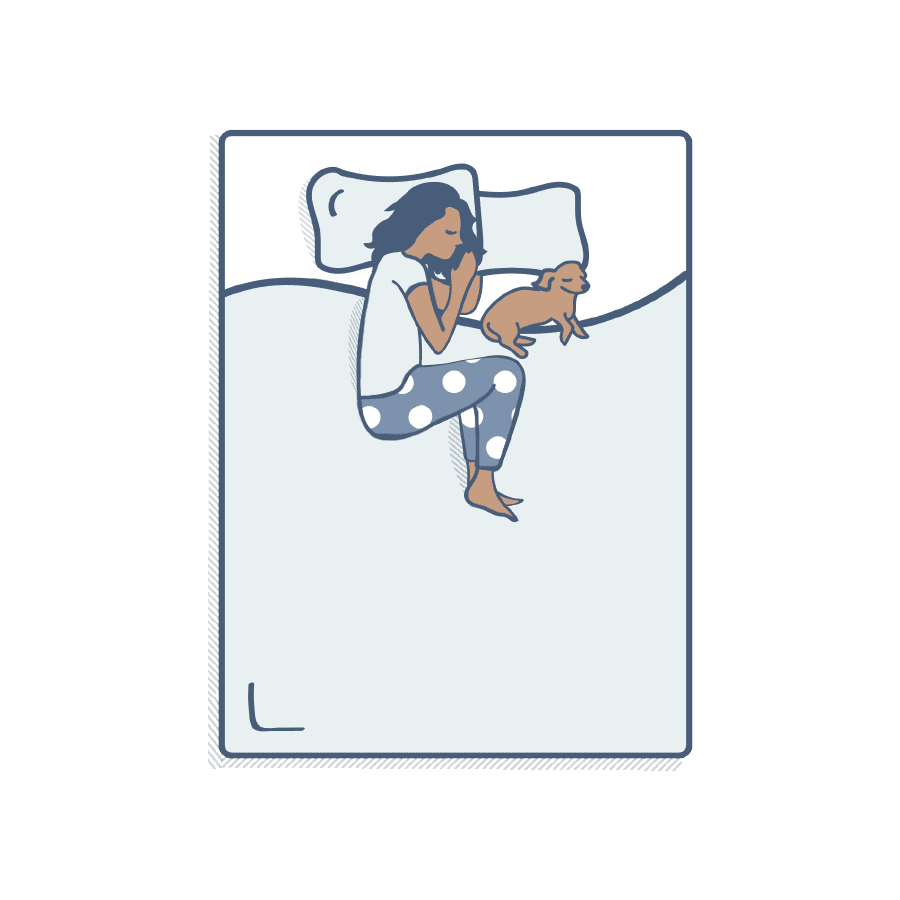 Illustration of a person sleeping on their side