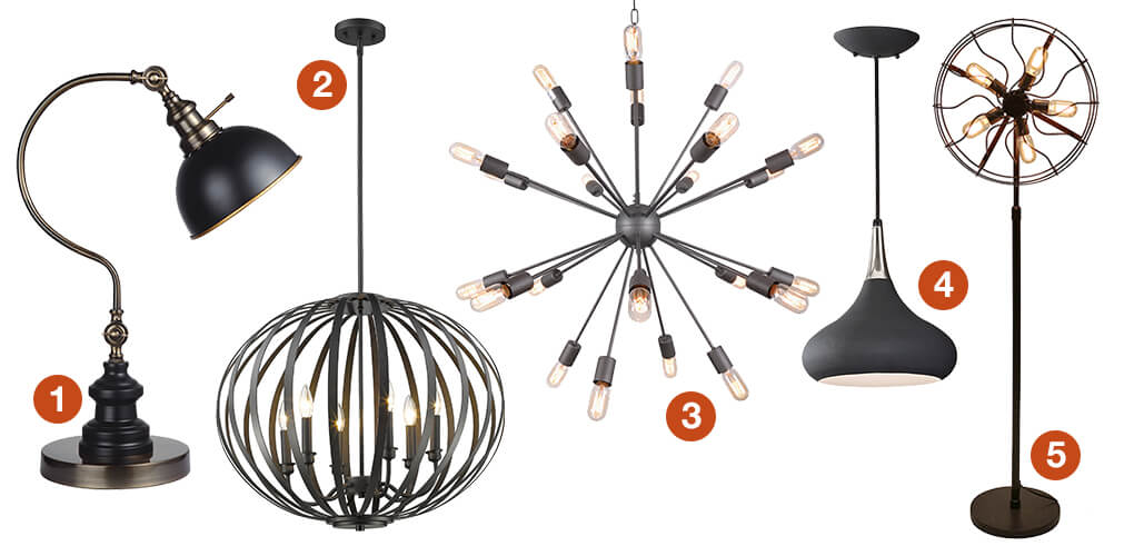 A collage of funky lighting: an industrial floor lamp, a geometric pendant  light, a black mid-century pendant, an industrial table lamp, and a sputnik style chandelier.