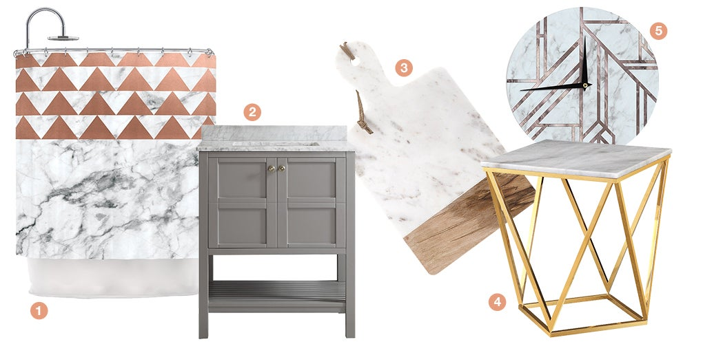 A collage of products with marble accents: a gold end table with a marble top, a marble wall clock, a cutting board with a marble accent, a bathroom vanitie with a marble top, and a marble printed shower curtain.
