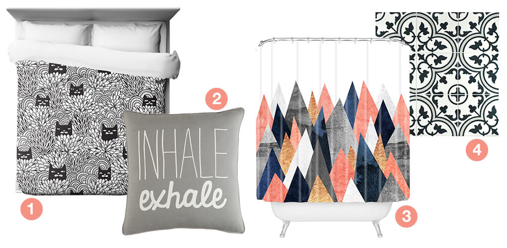 A collage of products with bold graphic prints: graphic floor tile, a throw pillwo with a graphic print, a shower curtain with a graphic print, and a duvet cover with a graphic print.