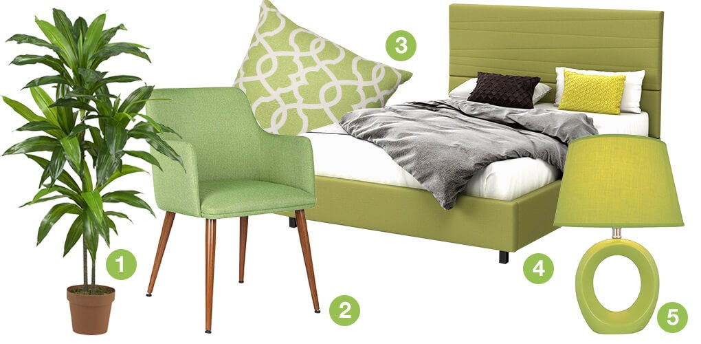 A collage of green products: a lime green table lamp, a green trellis throw pillow, a green bed, a green mid-century modern accent chair, and a silk plant.