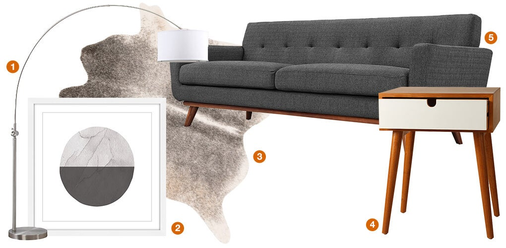 A collage of Scandinavian design products: an arched floor lamp, a tweed sofa, a chestnut brown side table with mid-century legs, a modern piece of artwork, and a rawhide area rug.