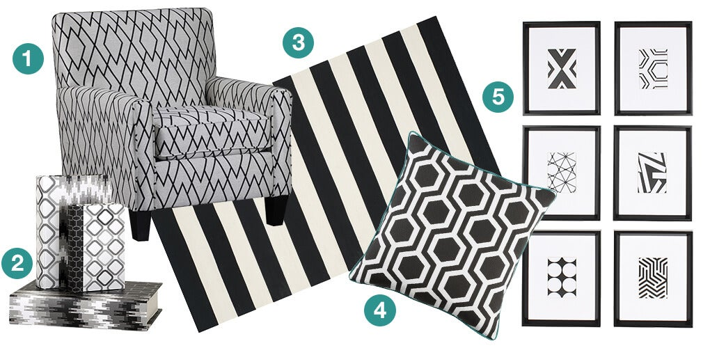 A collage of products that have a bold variety of prints: a geometric black and white accent chair, a black and white stripped area rug, a black and white geometric print throw pillow, a collection of black and white art work, and a stack of black and white printed books.