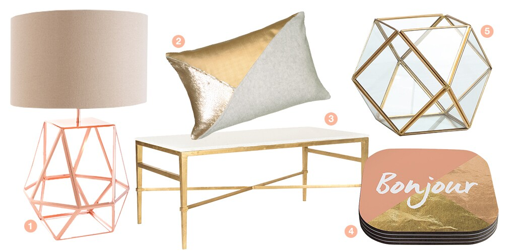 A collage of metallic products: a gold terrarium, a rose gold stack of coasters, a gold throw pillow, a gold coffee table, and a geometric rose gold table lamp.
