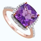 Cushion cute amethyst roge gold ring in a halo setting