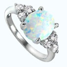 Oval opal sterling silver ring