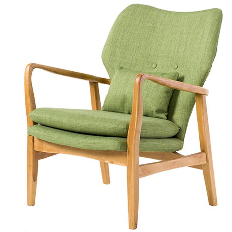 An olive green Mid-Century Modern accent chair