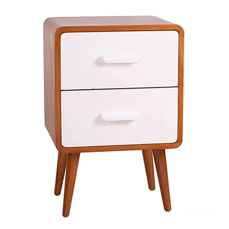 A two tone, two drawer Mid-Century Modern nightstand
