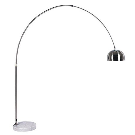 An arched silver floor lamp with a marble base