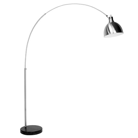An arched silver floor lamp