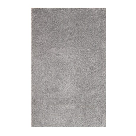 A grey shag area rug