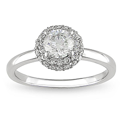 14k white gold ring with round cut diamond in a halo setting