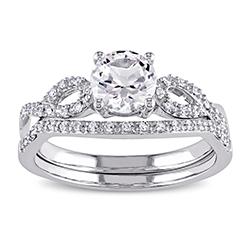 10k white gold bridal set ring with round cut white sapphire stone