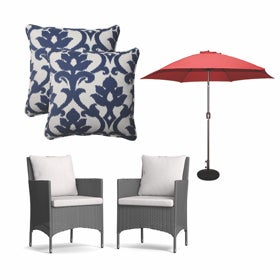 A colloage of patio furniture and outdoor decor