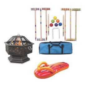 A collection of backyard essentials- lawn toys, pool float, and a fire pit