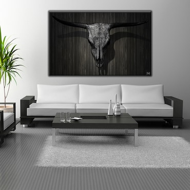 Wall Photography Black and White Steer Skull
