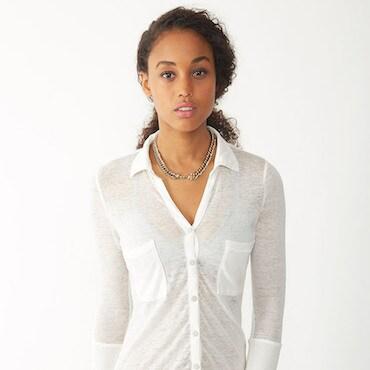 White Sheer Button-Down Shirt