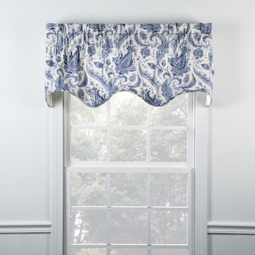 Blue and White Scallop Valance