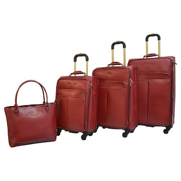 Red Durable Leather Luggage Set