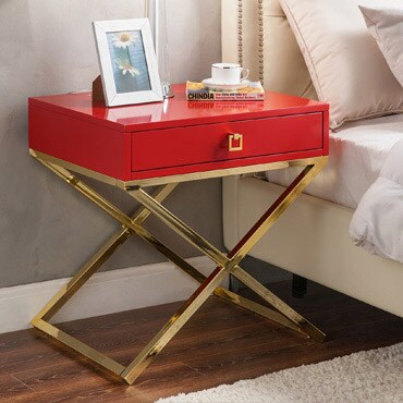Nightstand with decorative accessories on top