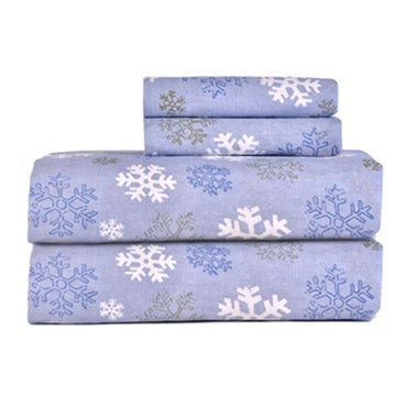 Stacked snowflake pattered flannel sheets