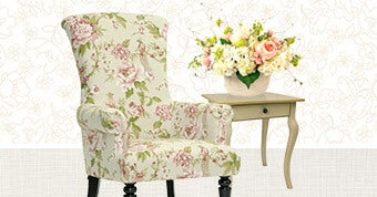 Baxton Studio Kimmett Beige/ Pink Linen Floral Accent Chair - Ashbury Shabby Chic Antique Cream Wood Veneer Square One-drawer Side Table - Creative Displays Pink Peony and White Hydrangea Garden Arrangement in Cream Pot