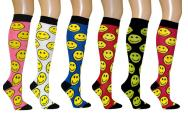 Smile Face Women's Fancy Design Multi Colorful Patterned Knee High Socks( 6 Pairs)