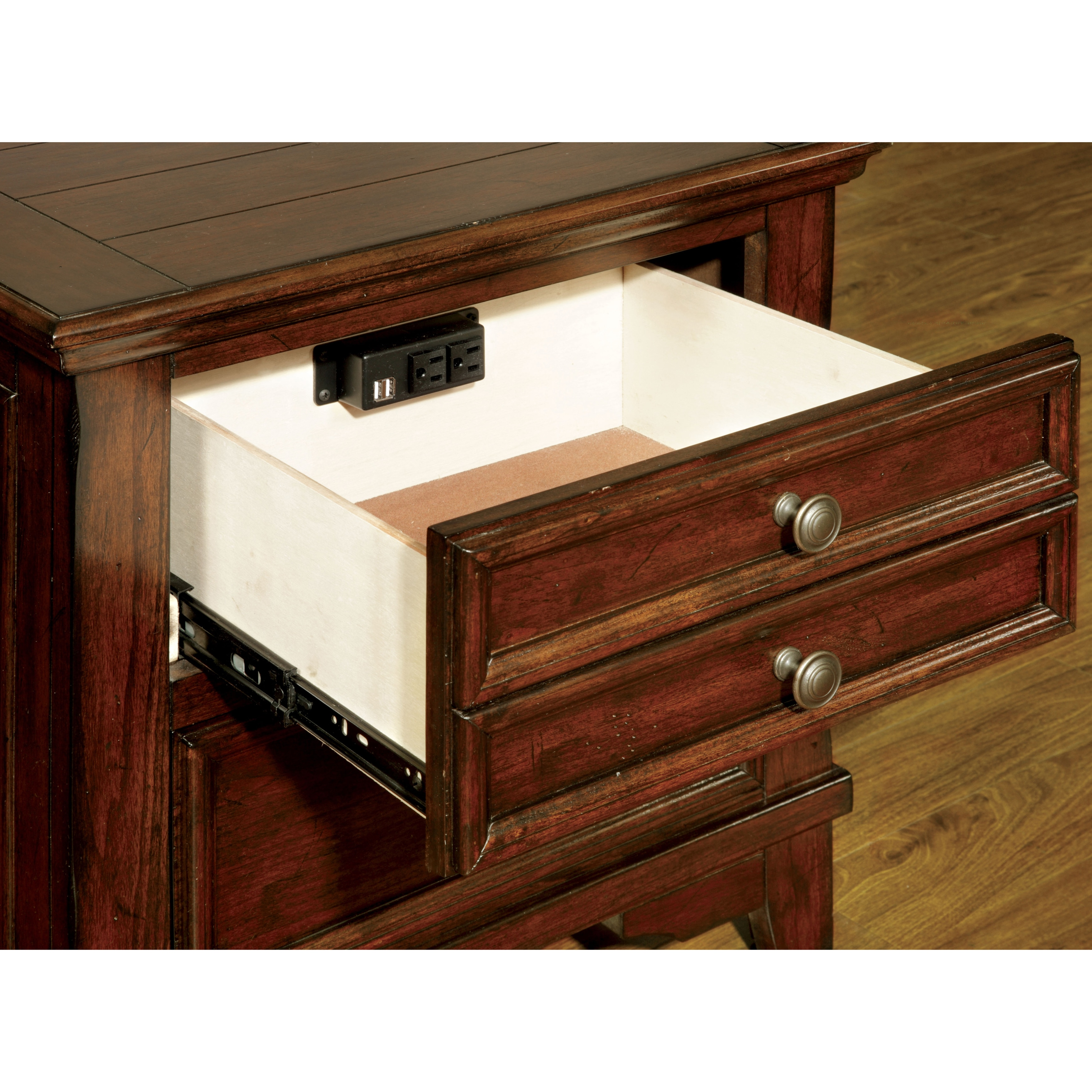 Furniture Of America Trimea Cherry 2 Drawer Nightstand With Built In Usb Outlet On Free Shipping Today 10001073