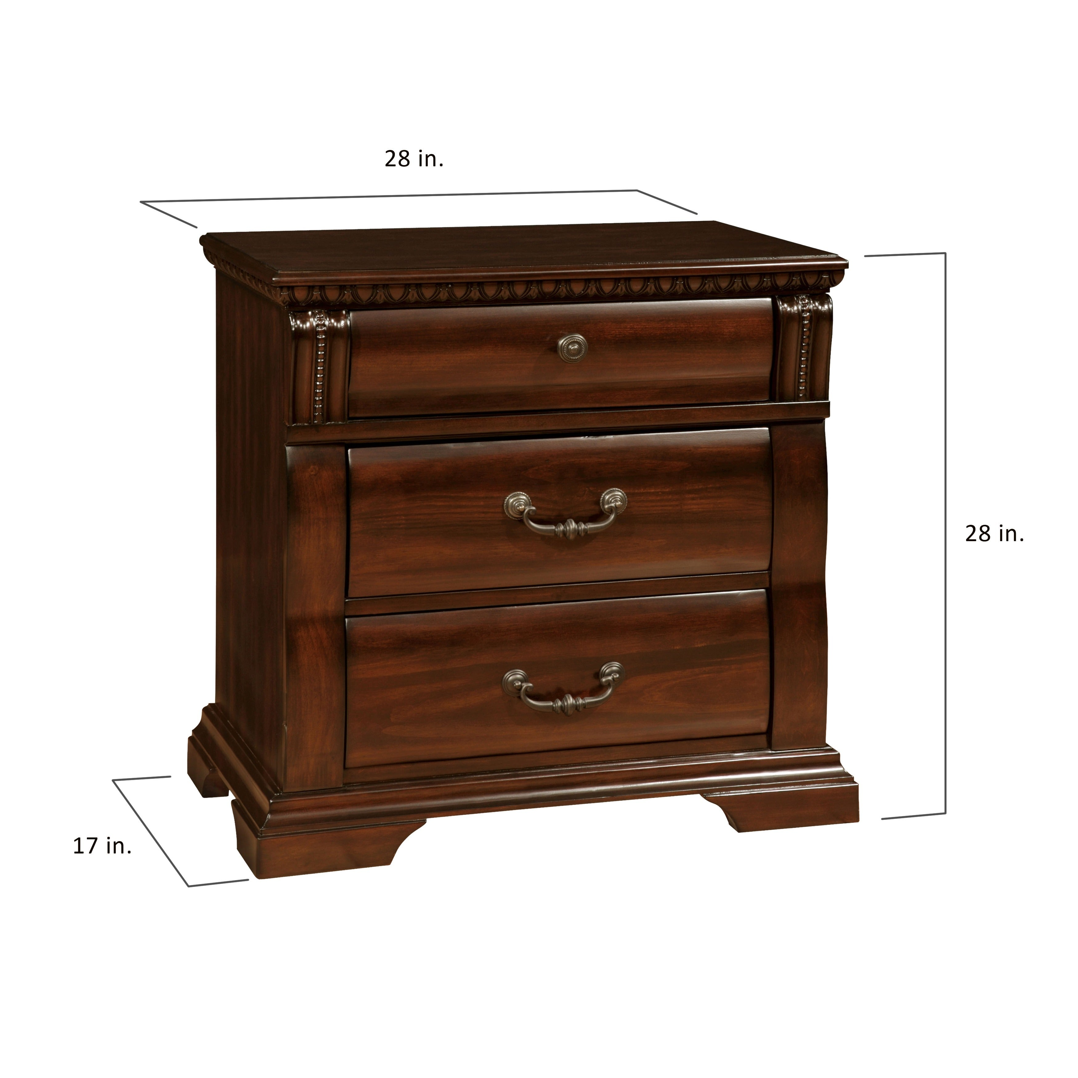 Furniture Of America Tasine Cherry 3 Drawer Nightstand  Free Shipping