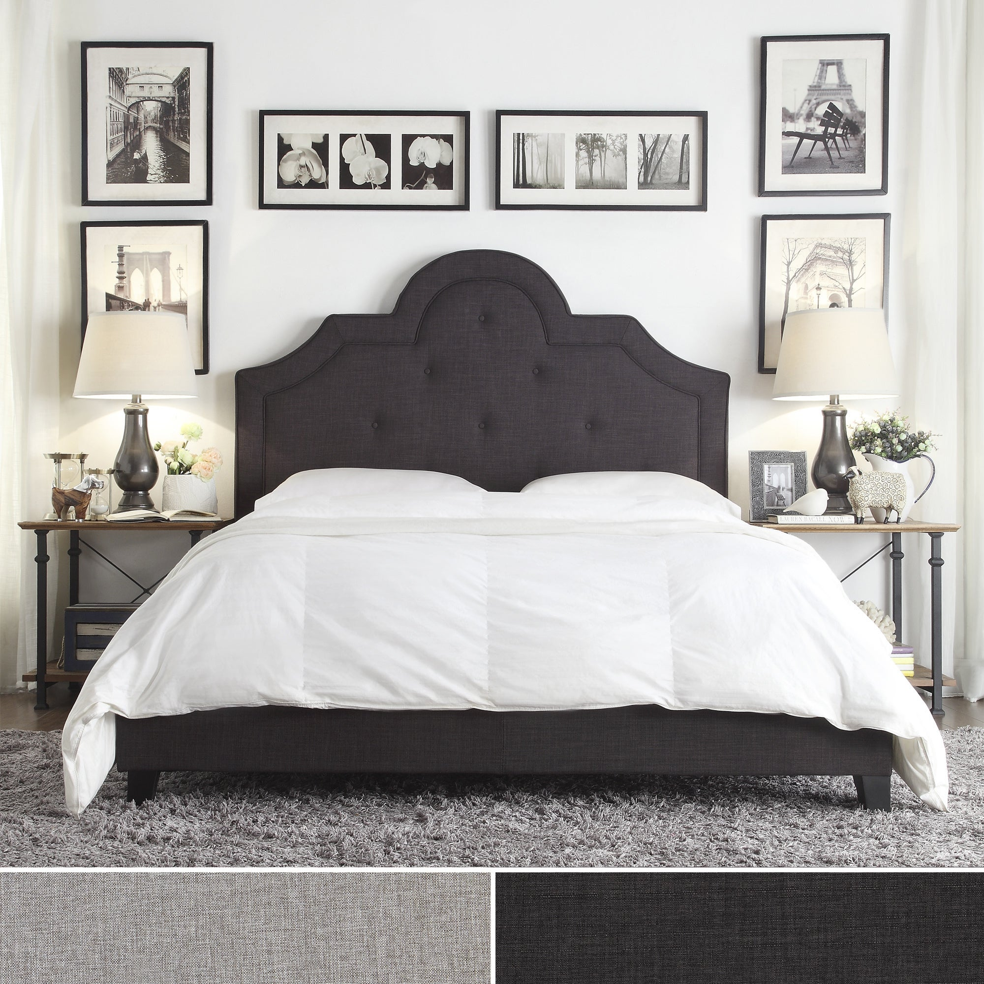 Harper Tufted High-arching Linen Upholstered Queen Bed by iNSPIRE Q Bold -  Free Shipping Today - Overstock.com - 17150373