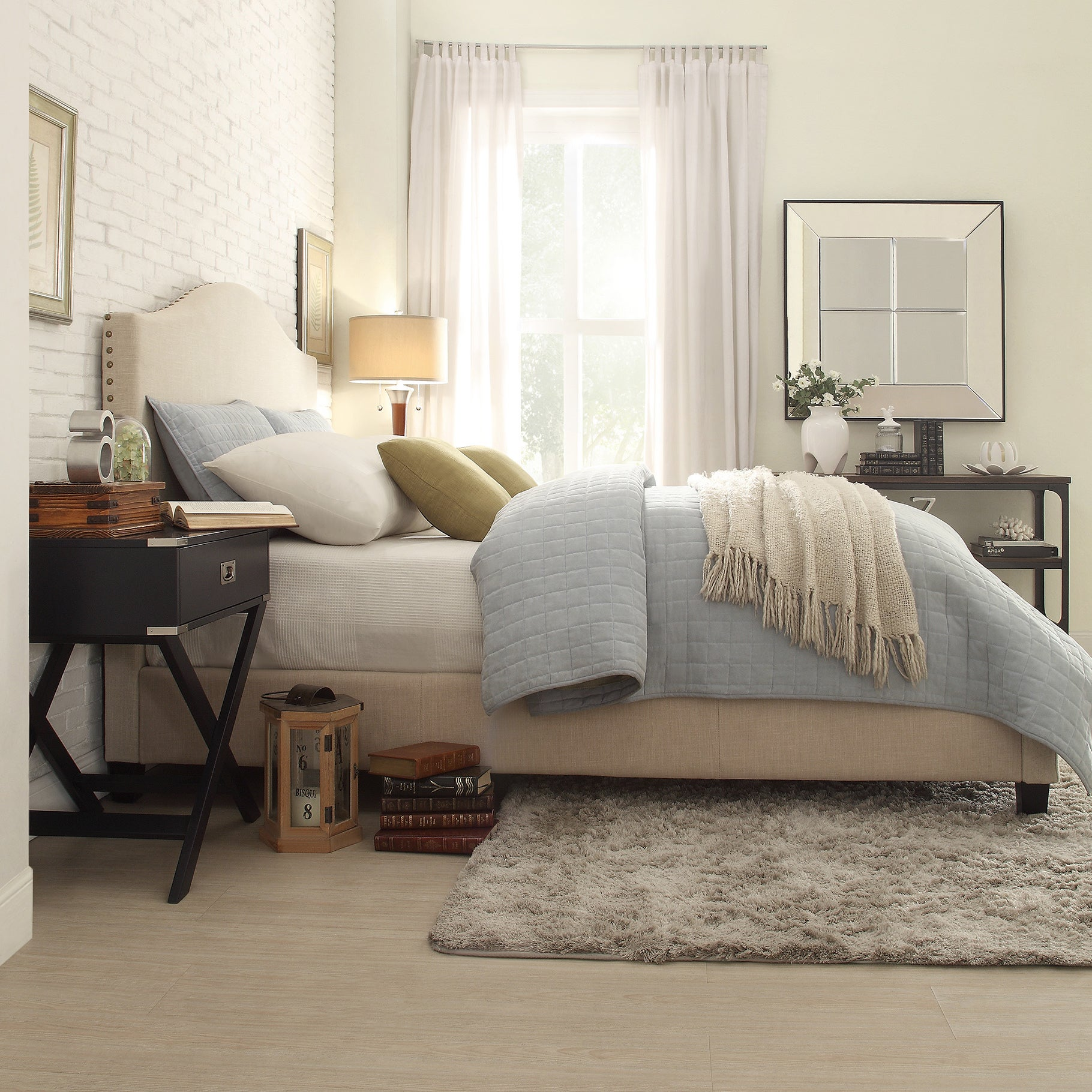 Blanchard Nailhead Camelback Upholstered Queen-size Bed by iNSPIRE Q Bold -  Free Shipping Today - Overstock.com - 17150379