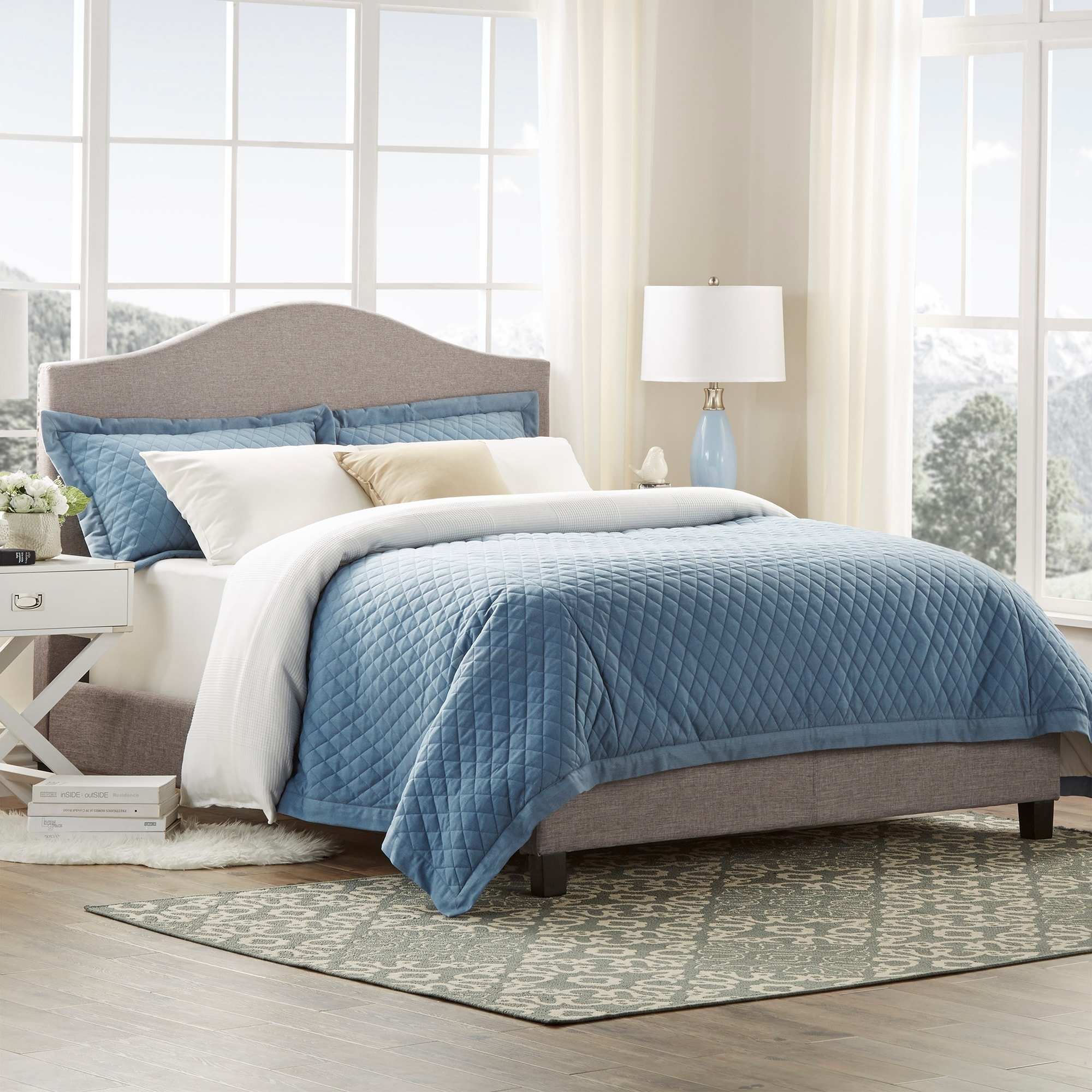 Blanchard Nailheads Camelback Beige Linen Upholstered King-size Bed by  iNSPIRE Q Bold - Free Shipping Today - Overstock.com - 17150380