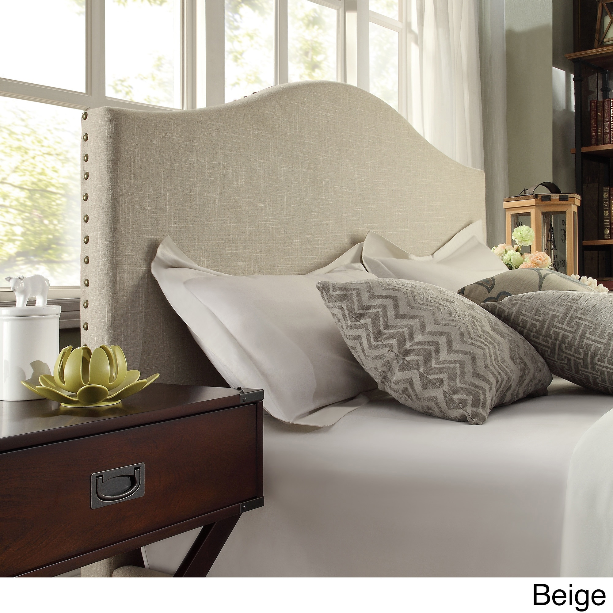 Blanchard Nailheads Camelback Upholstered Queen Size Headboard By INSPIRE Q  Bold   Free Shipping Today   Overstock   17150406