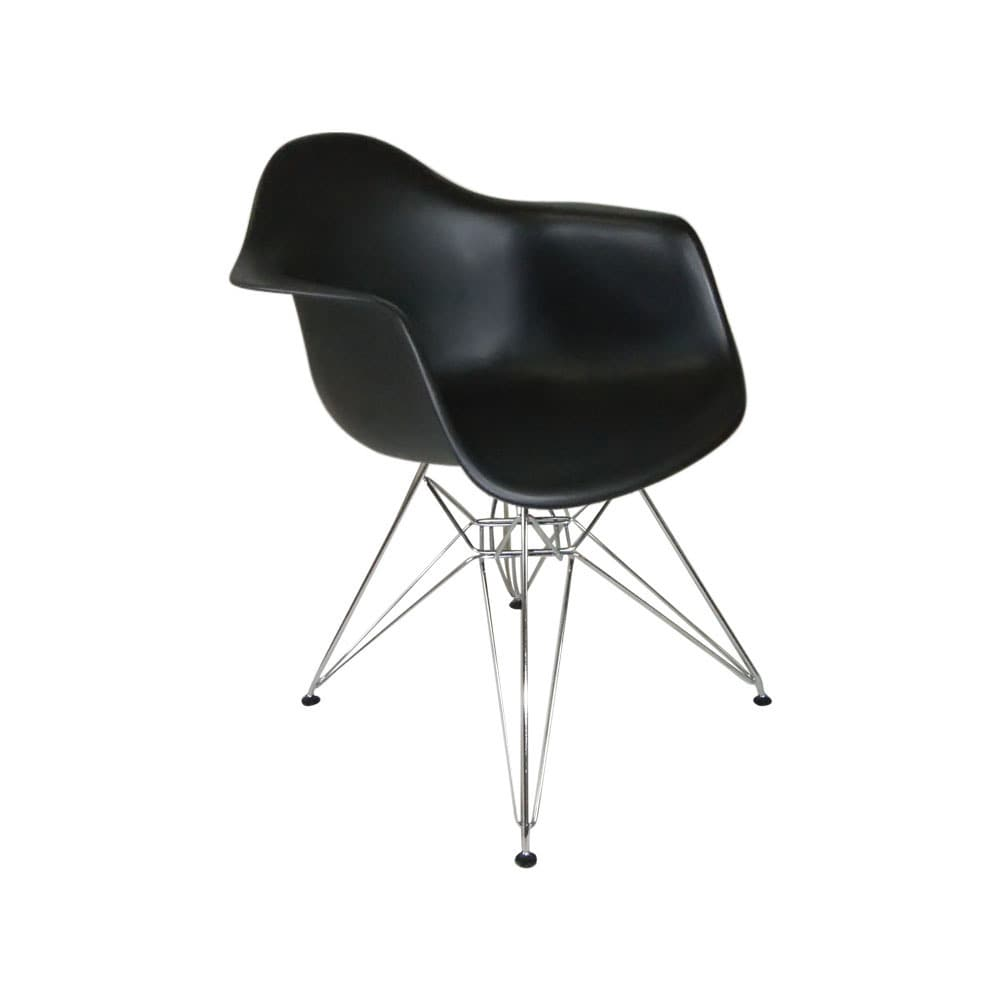 Mod Made Mid Century Modern Paris Tower Dining Arm Chair with Wire Chrome  Legs (Set of 2)