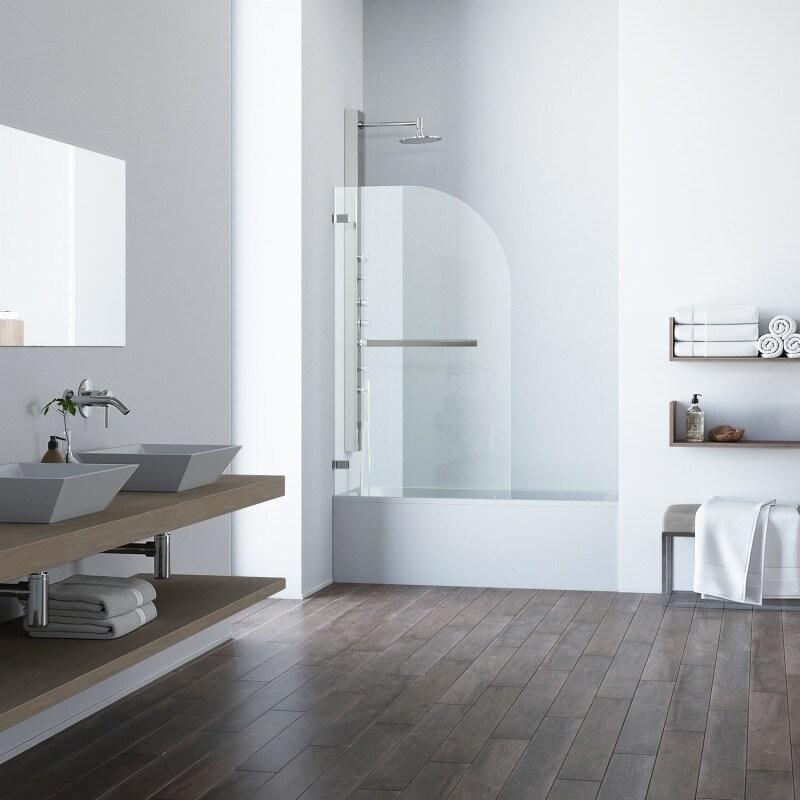 Shop VIGO Orion Clear Curved Bathtub Door in Stainless Steel - Free ...