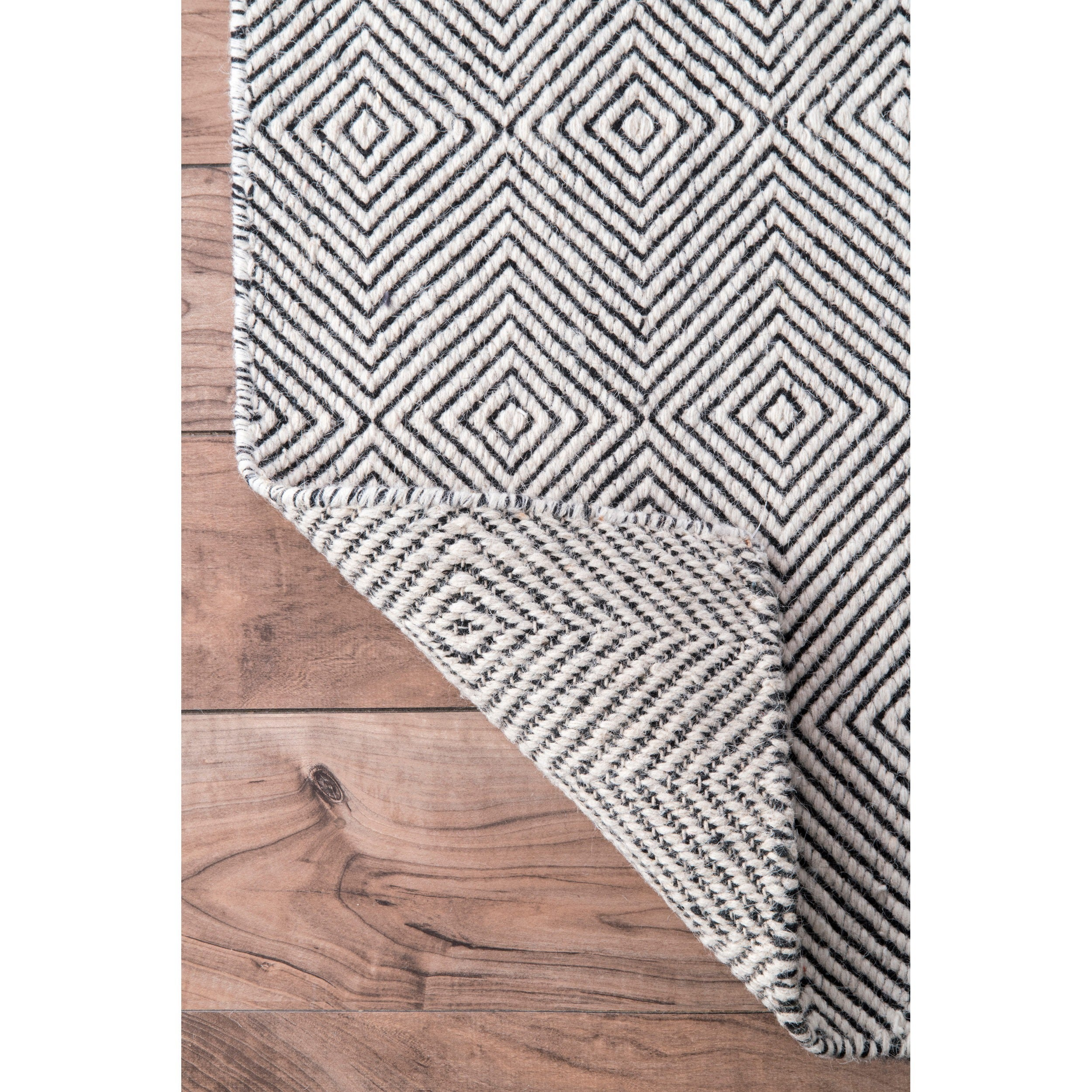 nuLoom Handmade Concentric Diamond Trellis Wool Cotton Rug 8 6 x 11